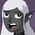 Akorlara is a dark skinned Drow woman, with long pointed ears, and long white hair. She has silver cuffed earrings on her upper ear, and wears bikini chain mail armor, with a lot of leather belts worn as fashion accessories.