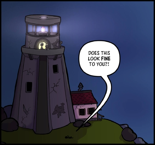 "Panel 2: A zoomed out view of a stone lighthouse, standing on a grassy hill littered with large stone builders, silhouetted against a starless night time sky. The lighthouse is in a state of disrepair and neglect, with visible cracks on its surface. A pink light emanates from a crystal in the lantern room. On the floor below, there is an observational balcony that goes around the entire circumference of the lighthouse. In the center, a dark stone archway reveals the yellow light of the interior of the lighthouse, highlighting the figures Veronica and Xavros. At the foot of the tower to the right is a derelict, off-white building with a red roof and dark windows.  Veronica and Xavros are looking at a shadowed figure of Horbin lying on the grass at the foot of the lighthouse. To the right of Veronica, peaking around the side of the lighthouse is a humanoid form with horns, watching what is occurring.  ""Does this look fine to you?!"" Horbin yells to the others in the lighthouse."