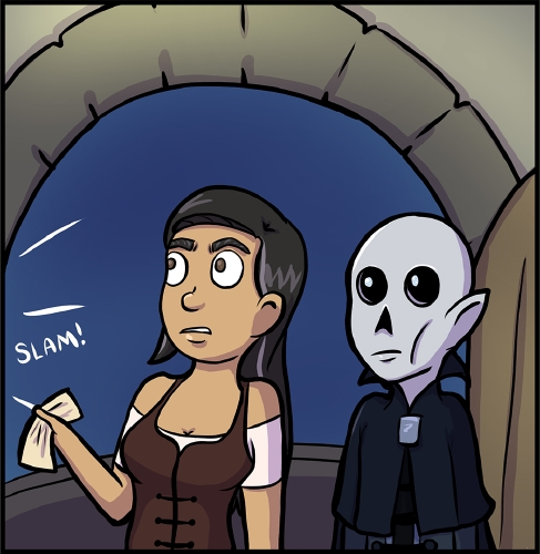 """Panel 2: Veronica and Frank stand in front of the entrance to the lighthouse's balcony. They stare with surprise to the left, where a sound effect of a """"SLAM!"""" can be seen, presumably from GM shutting some sort of door and leaving. Veronica holds the paper GM handed her.  Neither character says anything."""