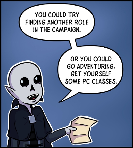 """Panel 6: Frank stands in front of a darker blue background, gesturing with the piece of paper in his hand. He looks over his shoulder to the left where Veronica presumably stands.  """"You could try finding another role in the campaign,"""" he suggests. """"Or you could go adventuring, get yourself some PC classes."""""""