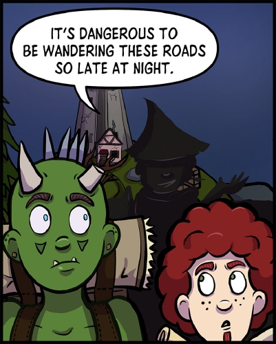 """Panel 1: Thog and Xavros are walking down a road away from the lighthouse.  Behind them is a shadowy form with a tall slanted hat, a sideways grin barely visible.  The figure is standing on a large rectangular object, and is above Thog and Xavros.  Thog and Xavros both look equally surprised, as they glance out of the corners of their eyes as they attempt to identify the voice behind them.  """"It's dangerous to be wandering these roads so late at night,"""" the shadowy figure says."""