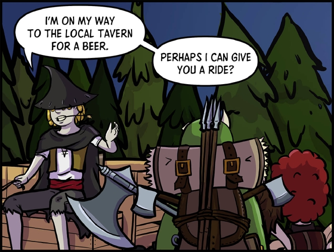 """Panel 3: The stranger sits in a wooden cart in front of a grove of trees.  He is waving at Thog and Xavros with one hand, who have turned around to face the stranger, while his other hand holds onto reigns of whatever creature is pulling the cart off panel. He has a cloak around his shoulders the same color as his hat.  His eyes are still obscured by his blond hair.  He wears a short sleeved white tunic, with a short tan vest on top of it. A red scarf is wrapped around his waist as a belt holding up a pair of raggedy light grey shorts.  """"I'm on my way to the local tavern for a beer,"""" says the Stranger. """"Perhaps I can give you a ride?"""""""