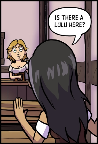 "Panel 4: A narrow view of the bar from across the room so only Lulu is visible. Her eyebrows are raised, as she looks at the new arrival.  In the foreground stands Veronica, who is facing away from the camera and timidly waving towards the bar.\ \ ""Is there a Lulu here?"" asks Veronica."