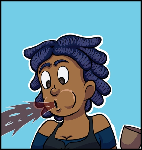 Panel 3: Anita is in front of a light blue background.  She is doing a spit take and spewing red wine to the left of the panel.