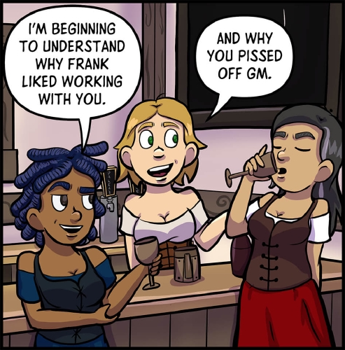 "Panel 5: Anita, Lulu, and Veronica stand around the bar at the tavern.  Anita is smirking over at Veronica. ""I'm beginning to understand why Frank liked working with you.""  Lulu smiles and adds, ""And why you pissed off GM.""  Veronica smuggling takes a sip from her drink."