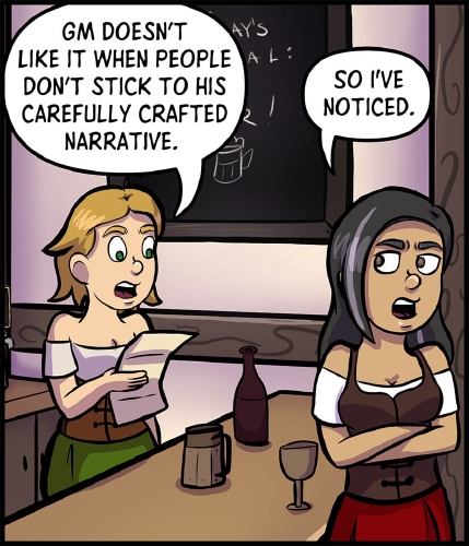 """Panel 2: Lulu and Veronica stand on opposite ends of the the bar, a wine bottle, beer tankard, and a winecup standing between them.  Lulu is reading through Veronica's character sheet.  """"GM doesn't like it when people don't stick to his carefully crafted narrative,"""" says Lulu.  """"So I've noticed,"""" says Veronica, her arms crossed and a scowl on her face."""
