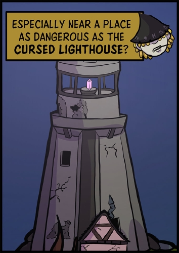 """Panel 4: A far away view of the lighthouse, with a narration box of the stranger saying """"Especially near a place as dangerous as the **cursed lighthouse**?"""""""