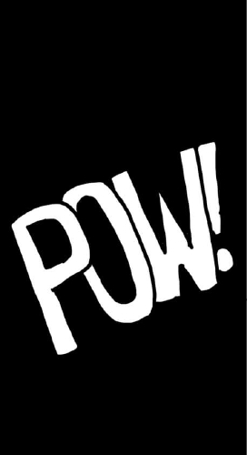 """Panel 3: A sound effect. Everything is black except for the word """"POW!!"""" in large white handwritten letters."""