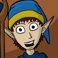 Lestor is a pale Elvin man with long ears, and short brown hair that is mostly covered with a blue wizard's hat with a golden rim. He wears a set of blue robes and is often carrying a light brown staff with a blue crystal in it.