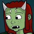 Lily is a Half-Orc woman with green skin, and long red hair that is styled into dreads. She has two longer horns on either side of her forehead that stick out from her head, with two smaller horns sticking straight out from the center of her skull above her eyebrows. She wears a light pink, full length dress with an empire waist.