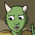 Thog is a green skinned, Half-Orc man He is bald, and has two horns coming out of his skull (although his left horn has been shaved down, as if it had been damaged). He has pointed green ears. He dresses in a lot of shades in brown that is a mix of fur and leather.