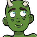 Thog is a green skinned, Half-Orc man with light blue eyes. He is bald, with dark brown eyebrows, and has two horns coming out of his skull (although his left horn has been shaved down, as if it had been damaged). He has gold jewelry on his ears, and wears a well made kilt with golden fastenings that match his earrings.